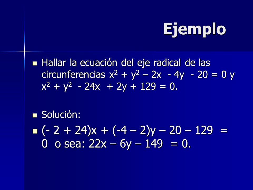 Ejemplo Hallar la ecuación del eje radical de las circunferencias x2 + y2 – 2x - 4y - 20 = 0 y x2 + y2 - 24x + 2y + 129 = 0.