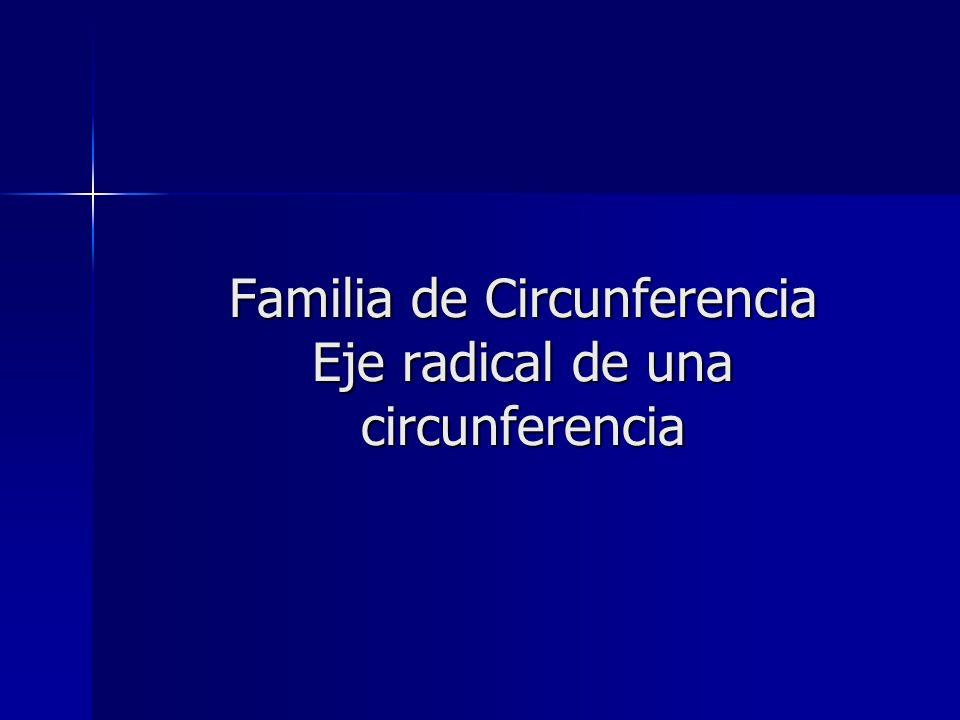 Familia de Circunferencia Eje radical de una circunferencia