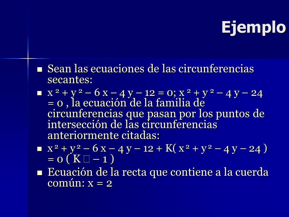Ejemplo Sean las ecuaciones de las circunferencias secantes:
