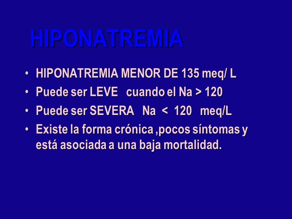 HIPONATREMIA HIPONATREMIA MENOR DE 135 meq/ L