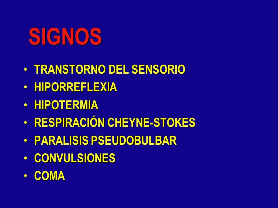 SIGNOS TRANSTORNO DEL SENSORIO HIPORREFLEXIA HIPOTERMIA