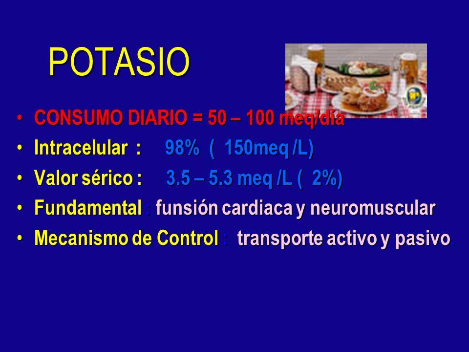 POTASIO CONSUMO DIARIO = 50 – 100 meq/día