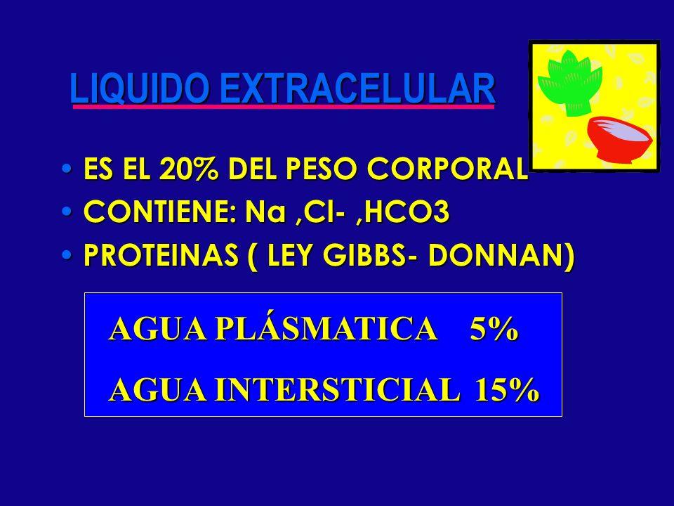 LIQUIDO EXTRACELULAR AGUA PLÁSMATICA 5% AGUA INTERSTICIAL 15%