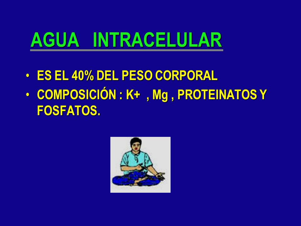 AGUA INTRACELULAR ES EL 40% DEL PESO CORPORAL