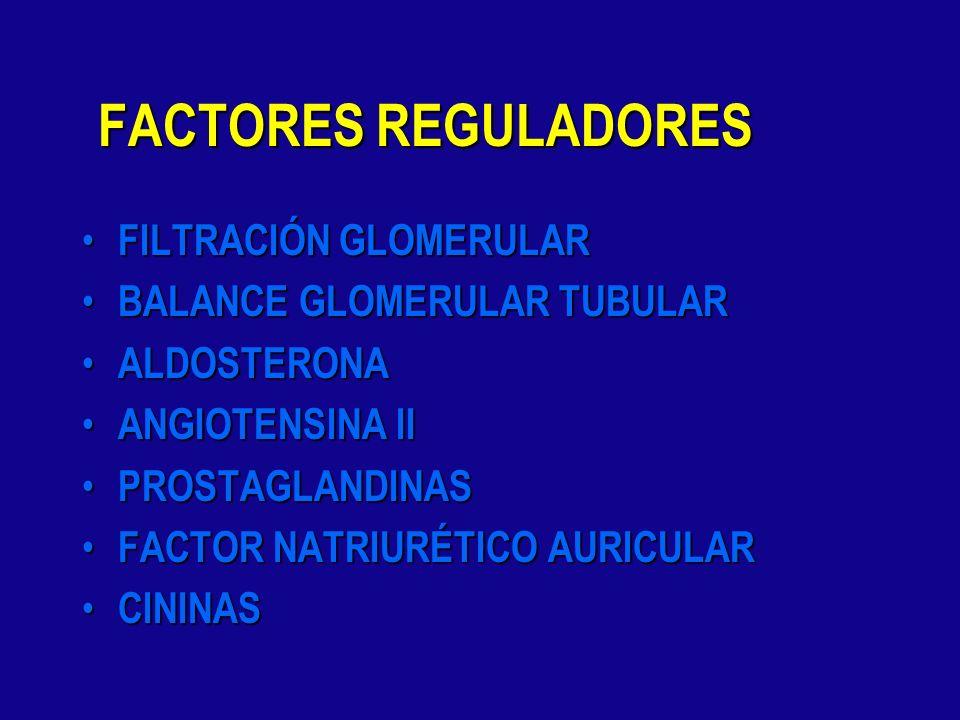 FACTORES REGULADORES FILTRACIÓN GLOMERULAR BALANCE GLOMERULAR TUBULAR