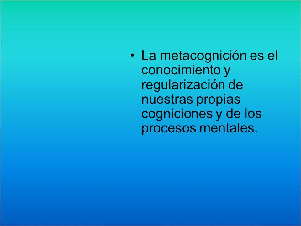 La metacognición es el conocimiento y regularización de nuestras propias cogniciones y de los procesos mentales.