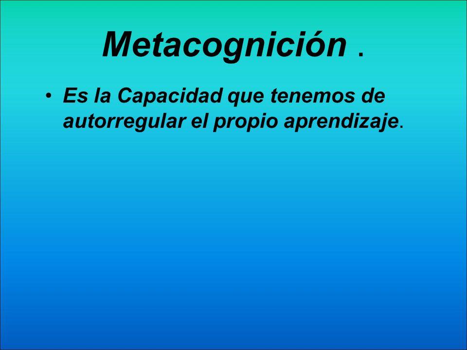 Metacognición . Es la Capacidad que tenemos de autorregular el propio aprendizaje.