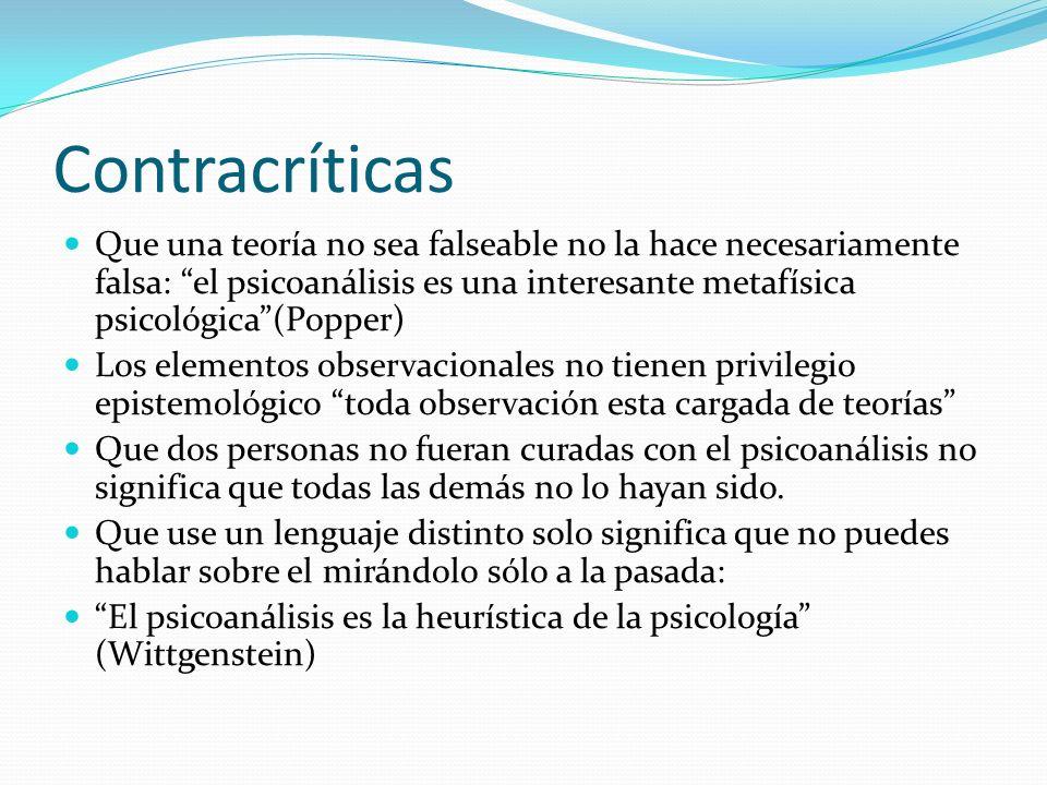 ContracríticasQue una teoría no sea falseable no la hace necesariamente falsa: el psicoanálisis es una interesante metafísica psicológica (Popper)