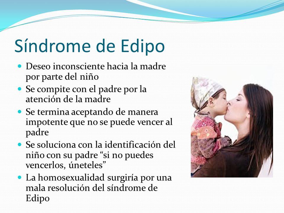 Síndrome de Edipo Deseo inconsciente hacia la madre por parte del niño