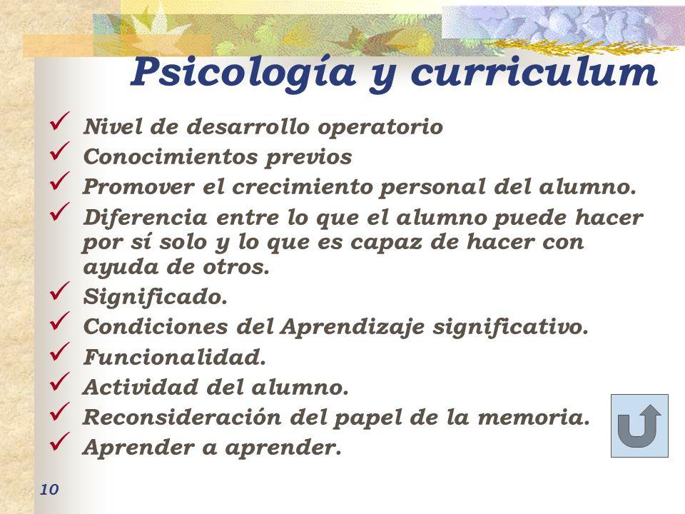 Psicología y curriculum