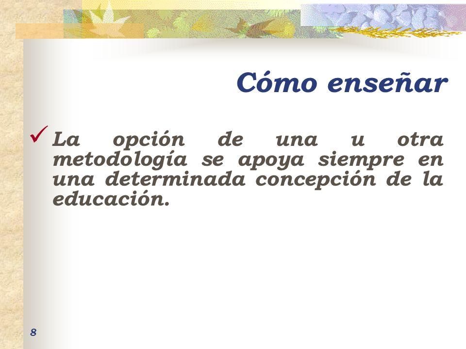 Cómo enseñar La opción de una u otra metodología se apoya siempre en una determinada concepción de la educación.