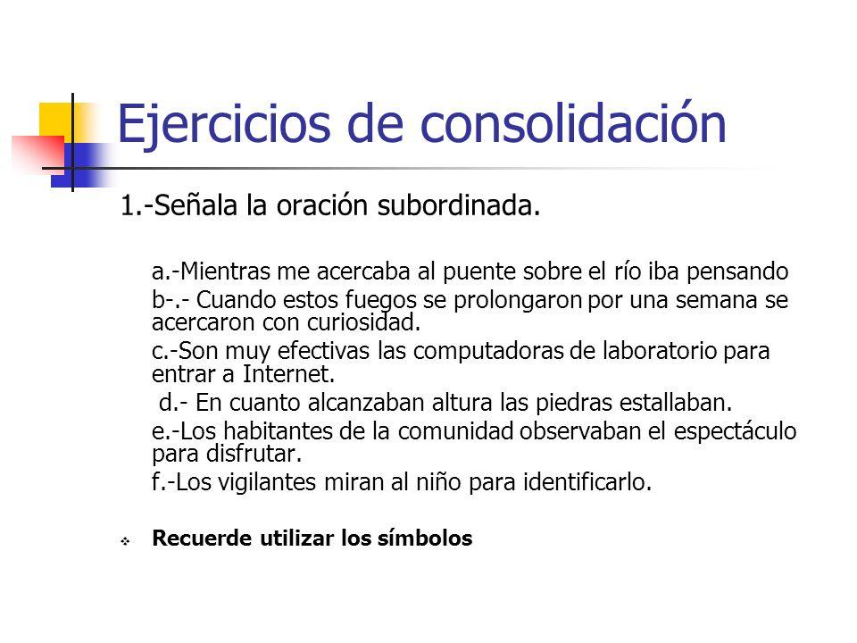 Ejercicios de consolidación