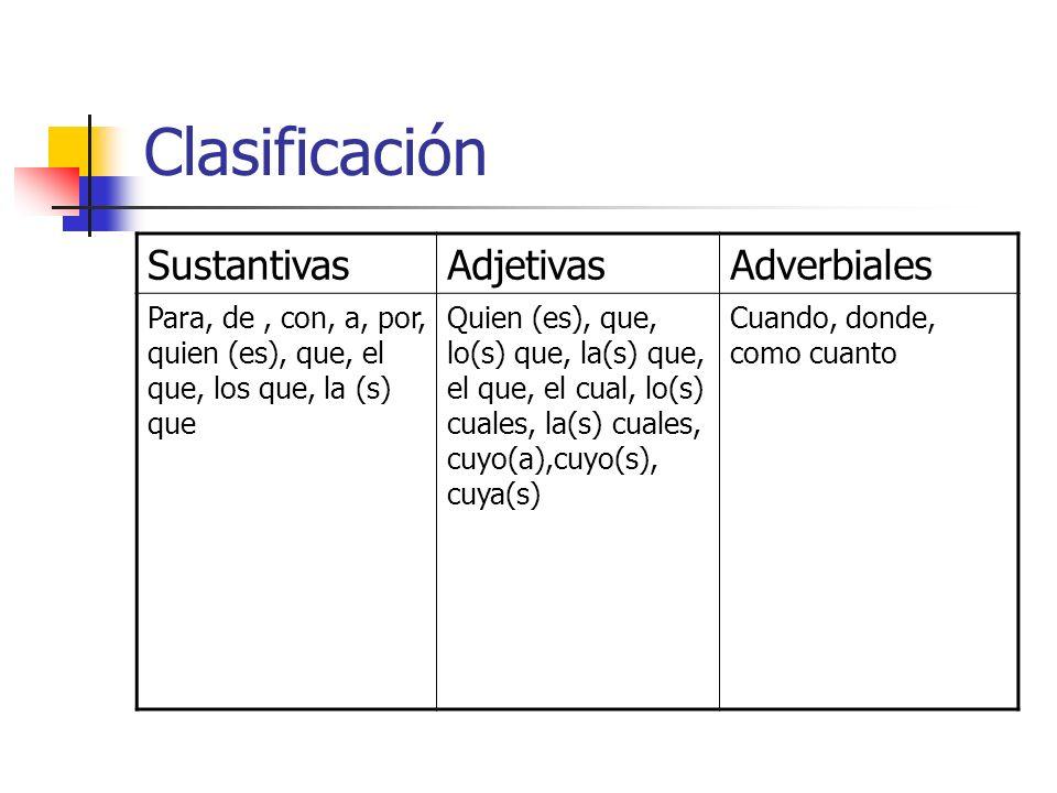 Clasificación Sustantivas Adjetivas Adverbiales