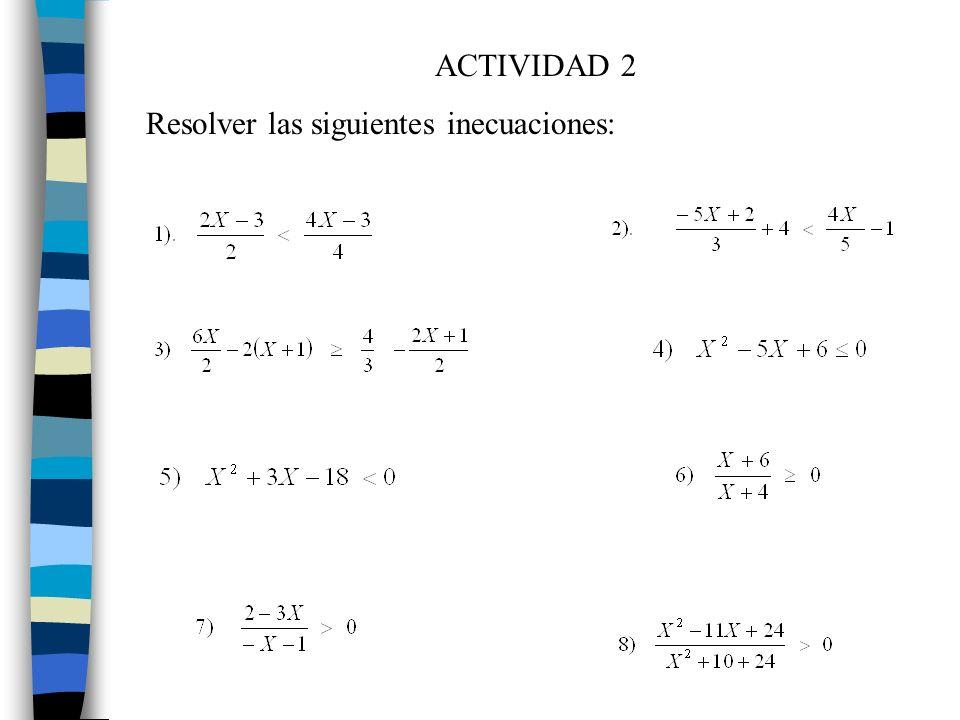 ACTIVIDAD 2 Resolver las siguientes inecuaciones: