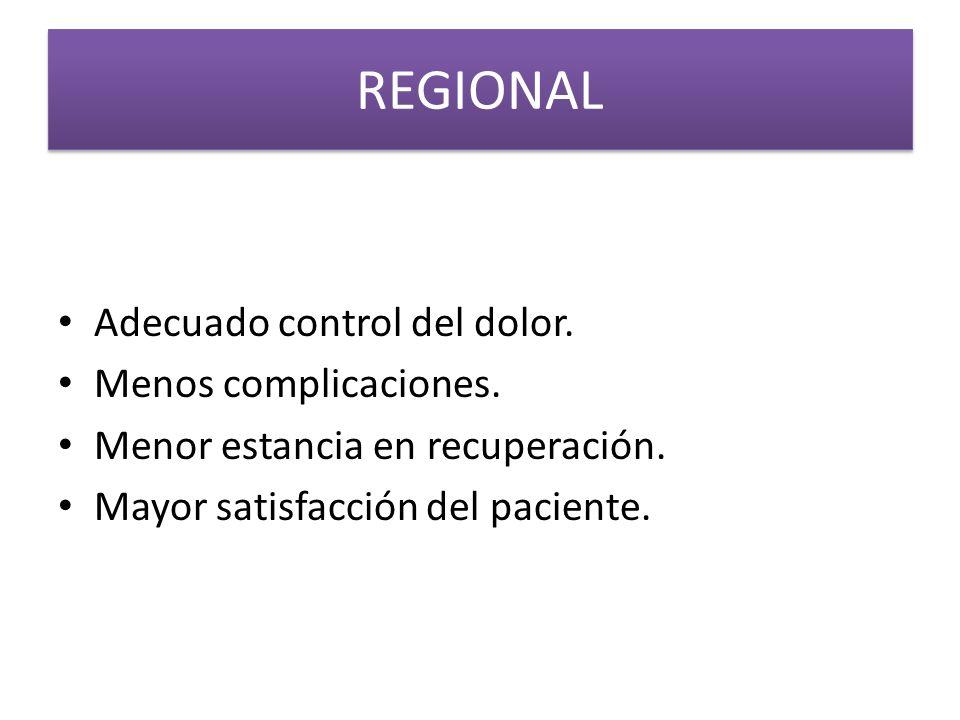 REGIONAL Adecuado control del dolor. Menos complicaciones.