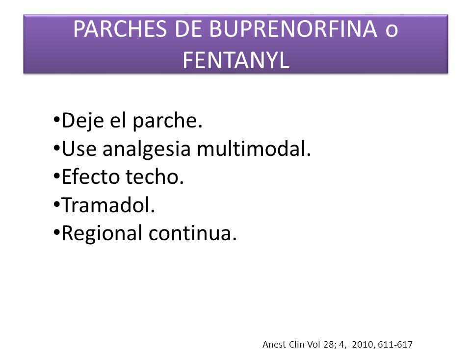 PARCHES DE BUPRENORFINA o FENTANYL