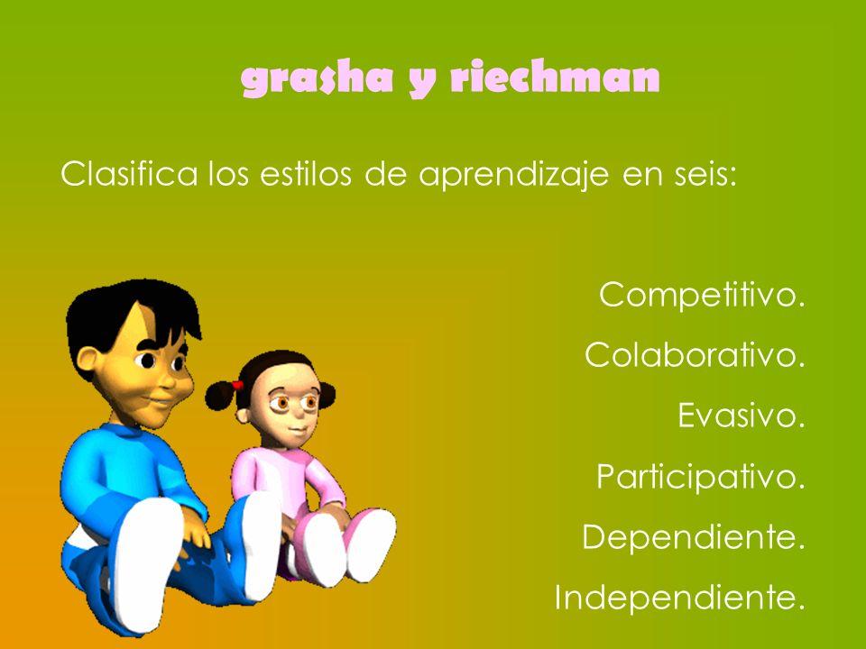 grasha y riechman Clasifica los estilos de aprendizaje en seis: