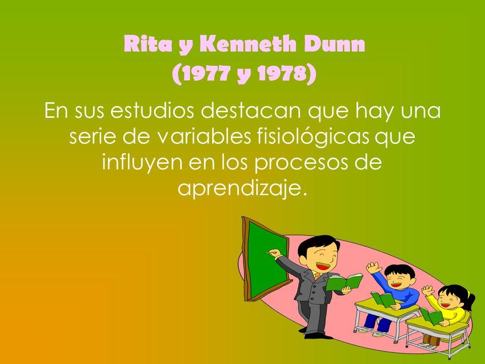 Rita y Kenneth Dunn (1977 y 1978) En sus estudios destacan que hay una serie de variables fisiológicas que influyen en los procesos de aprendizaje.
