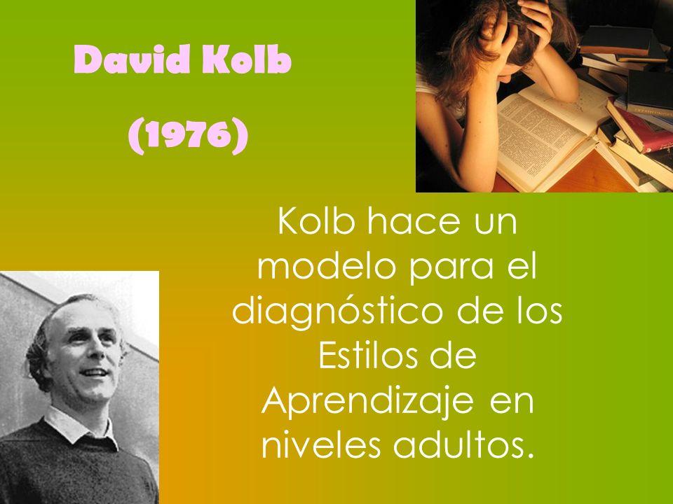 David Kolb (1976) Kolb hace un modelo para el diagnóstico de los Estilos de Aprendizaje en niveles adultos.