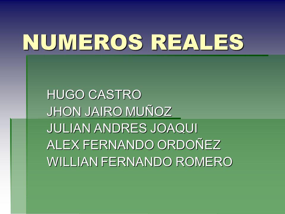 NUMEROS REALES HUGO CASTRO JHON JAIRO MUÑOZ JULIAN ANDRES JOAQUI