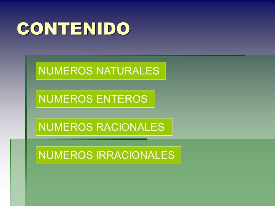 CONTENIDO NUMEROS NATURALES NUMEROS ENTEROS NUMEROS RACIONALES