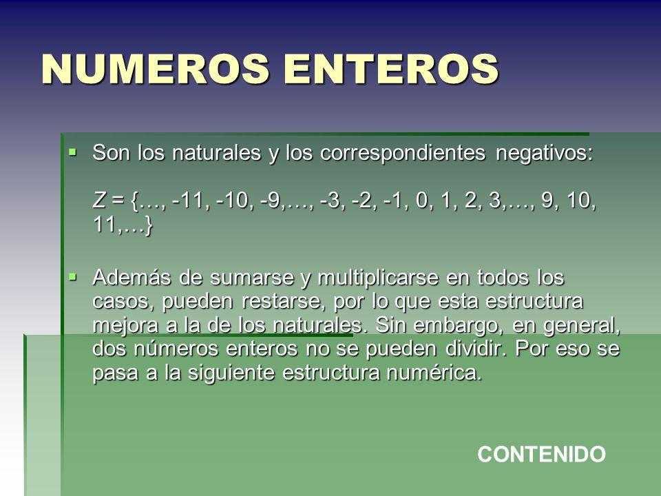 NUMEROS ENTEROSSon los naturales y los correspondientes negativos: Z = {…, -11, -10, -9,…, -3, -2, -1, 0, 1, 2, 3,…, 9, 10, 11,…}