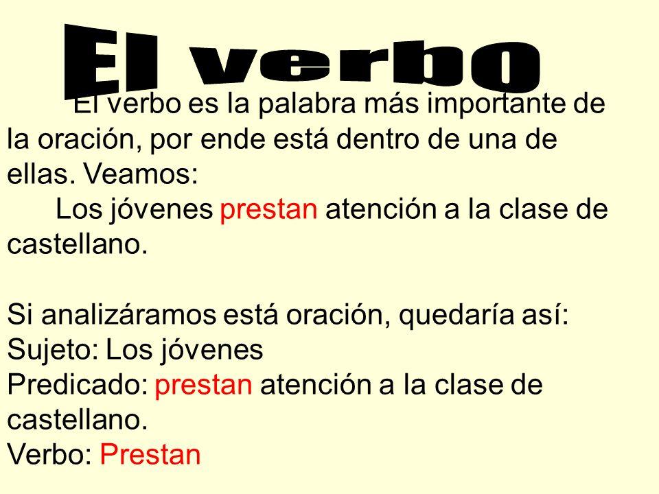 El verbo Los jóvenes prestan atención a la clase de castellano.