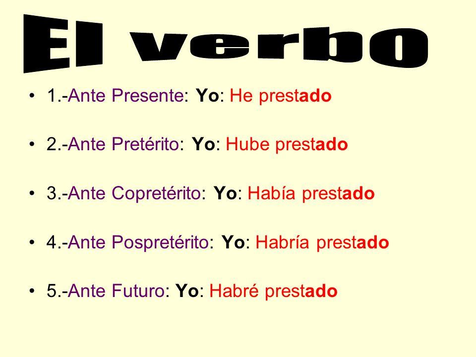 El verbo 1.-Ante Presente: Yo: He prestado