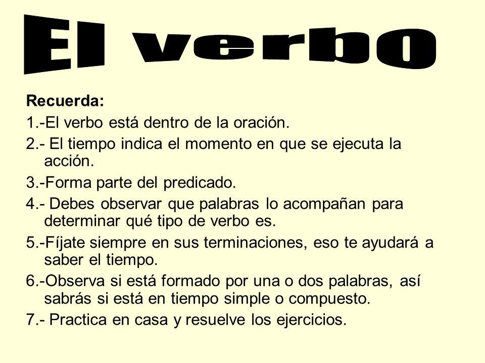 El verbo Recuerda: 1.-El verbo está dentro de la oración.