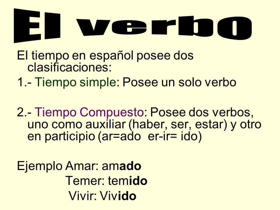 El verbo El tiempo en español posee dos clasificaciones: