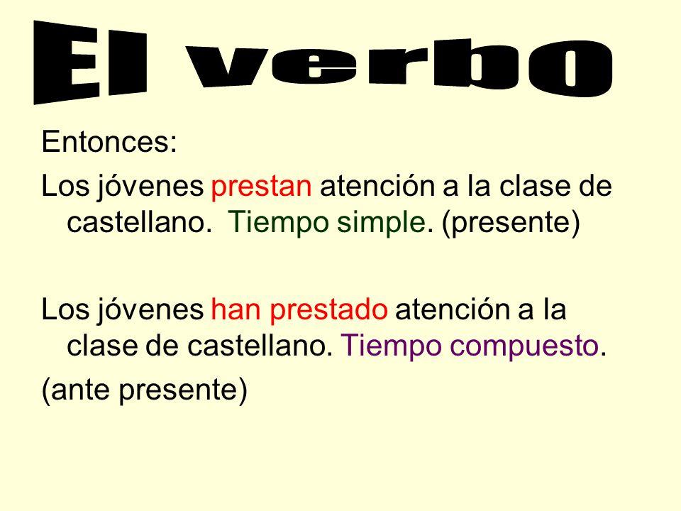 El verbo Entonces: Los jóvenes prestan atención a la clase de castellano. Tiempo simple. (presente)