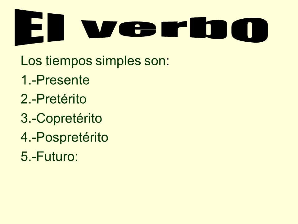 El verbo Los tiempos simples son: 1.-Presente 2.-Pretérito