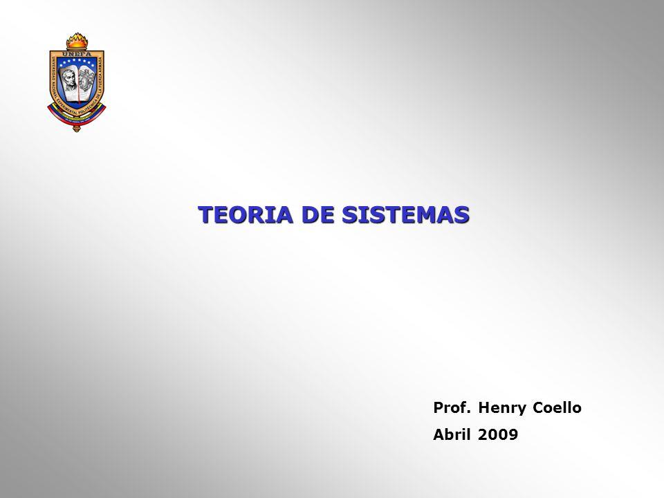 TEORIA DE SISTEMAS Prof. Henry Coello Abril 2009