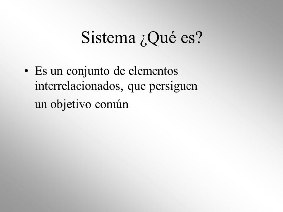Sistema ¿Qué es Es un conjunto de elementos interrelacionados, que persiguen un objetivo común