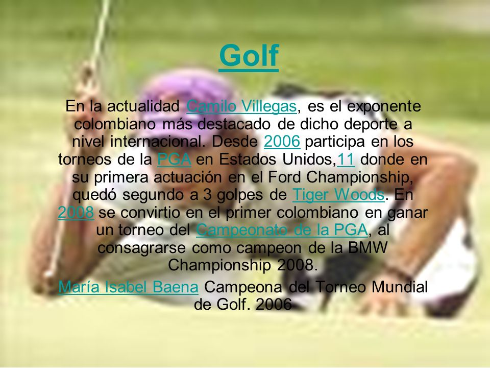 María Isabel Baena Campeona del Torneo Mundial de Golf. 2006