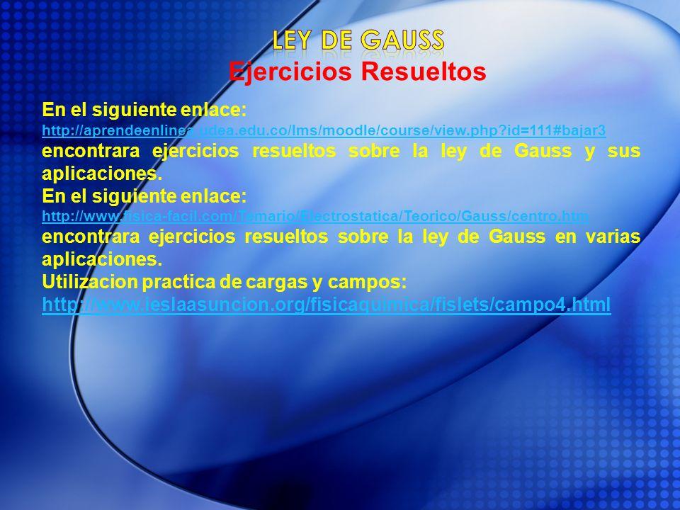 Ley de gauss Ejercicios Resueltos En el siguiente enlace: