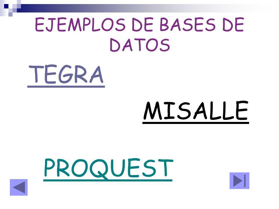 EJEMPLOS DE BASES DE DATOS
