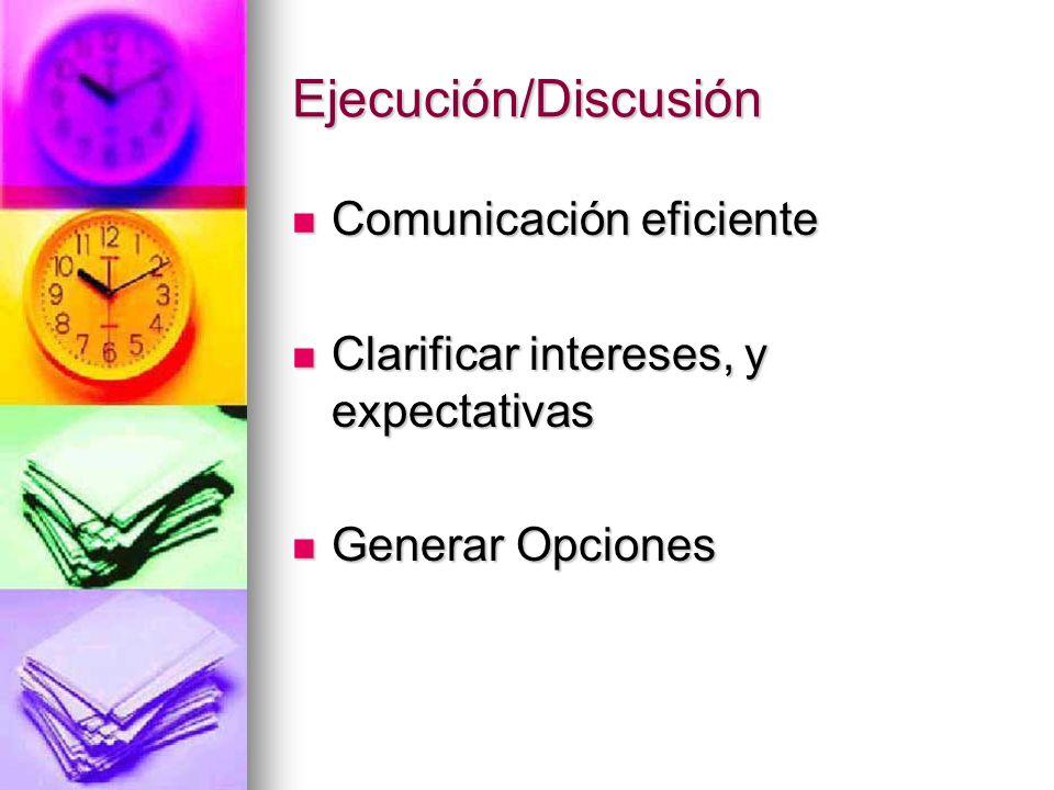 Ejecución/Discusión Comunicación eficiente