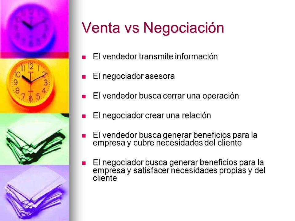 Venta vs Negociación El vendedor transmite información
