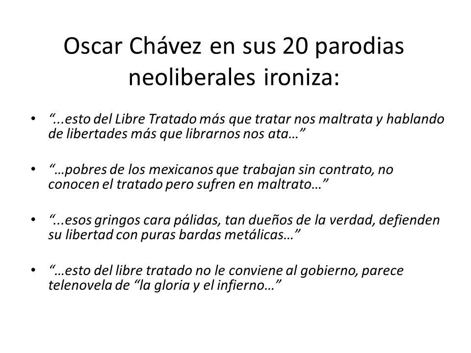 Oscar Chávez en sus 20 parodias neoliberales ironiza: