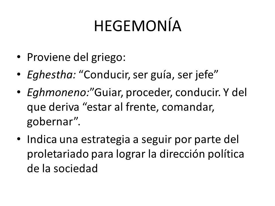 HEGEMONÍA Proviene del griego: