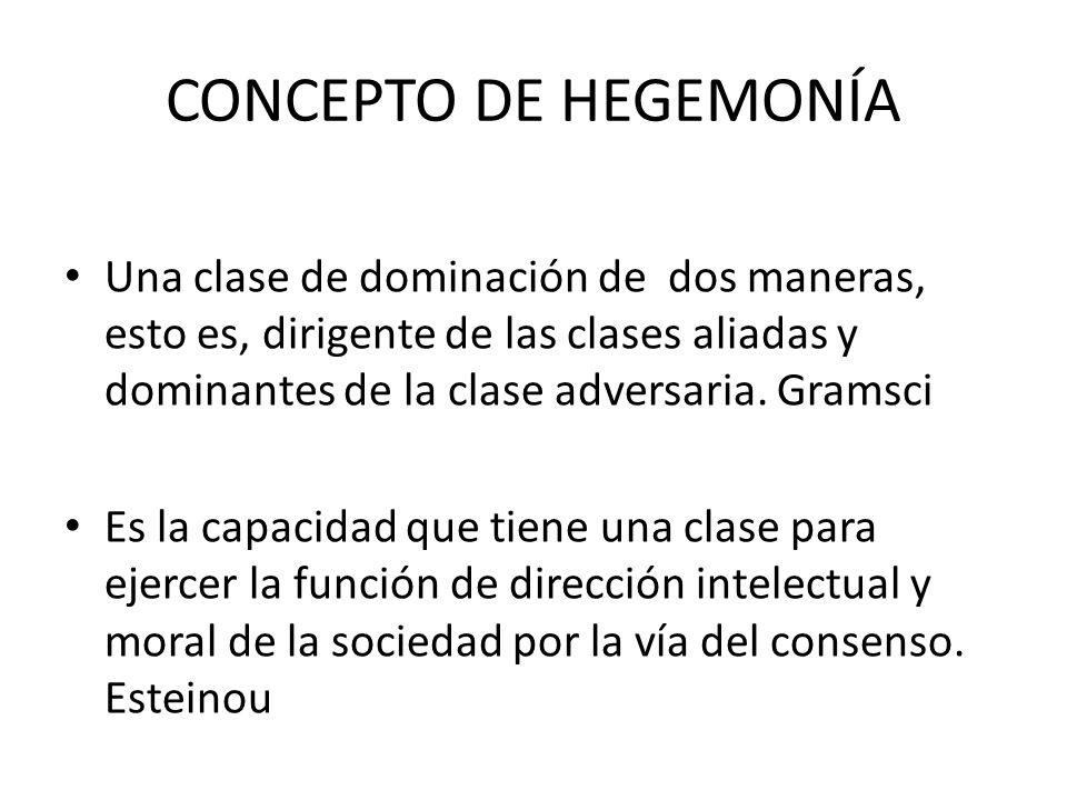 CONCEPTO DE HEGEMONÍA Una clase de dominación de dos maneras, esto es, dirigente de las clases aliadas y dominantes de la clase adversaria. Gramsci.