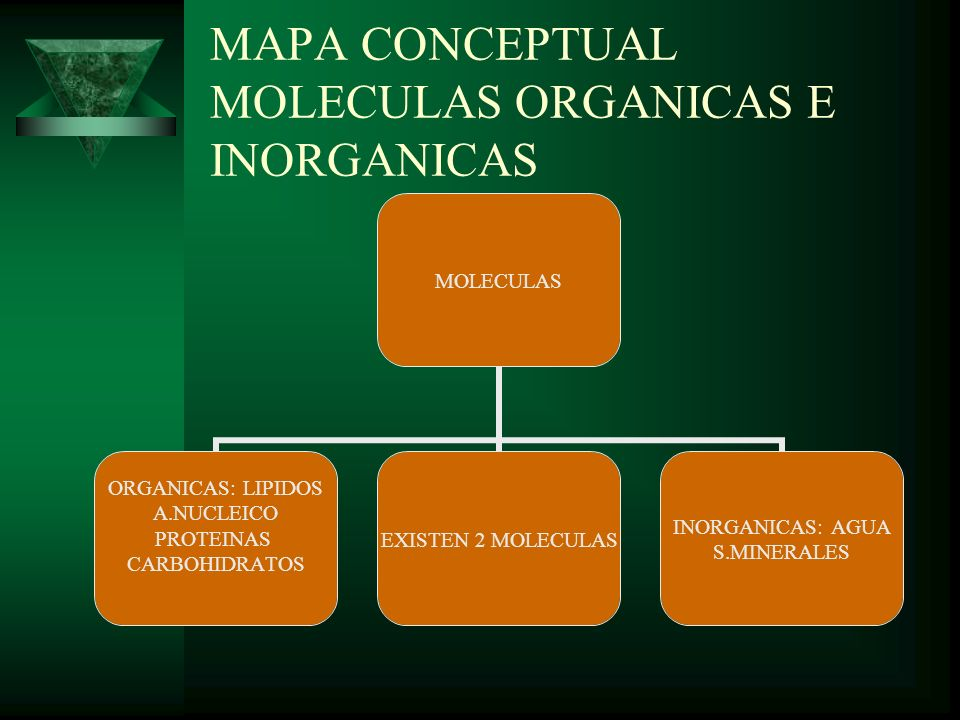 MAPA CONCEPTUAL MOLECULAS ORGANICAS E INORGANICAS