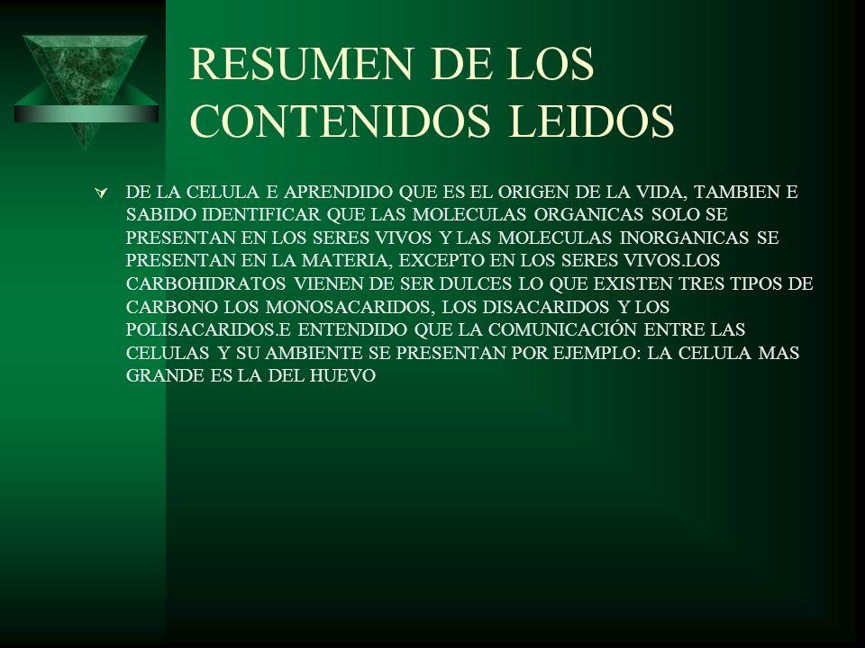 RESUMEN DE LOS CONTENIDOS LEIDOS