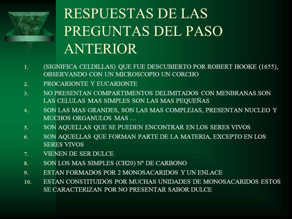 RESPUESTAS DE LAS PREGUNTAS DEL PASO ANTERIOR
