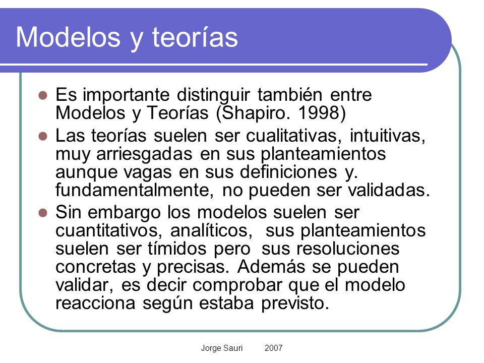 Modelos y teorías Es importante distinguir también entre Modelos y Teorías (Shapiro. 1998)