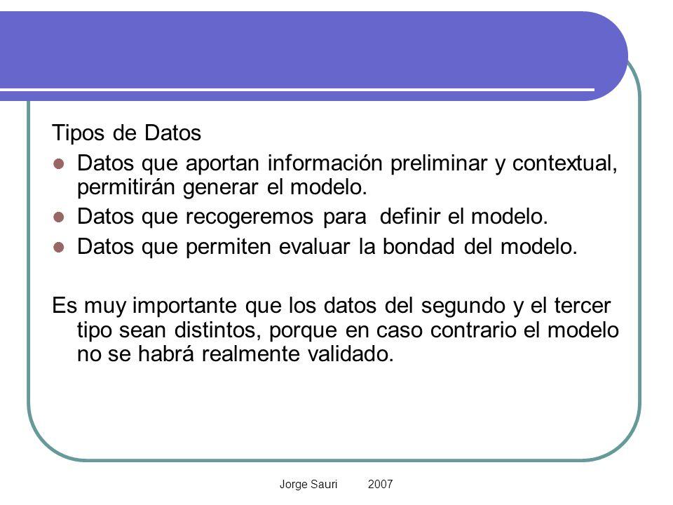 Datos que recogeremos para definir el modelo.