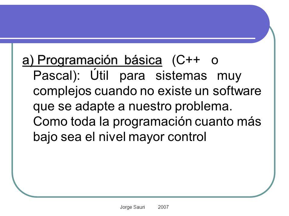 a) Programación básica (C++ o Pascal): Útil para sistemas muy complejos cuando no existe un software que se adapte a nuestro problema. Como toda la programación cuanto más bajo sea el nivel mayor control