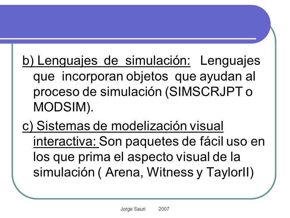 b) Lenguajes de simulación: Lenguajes que incorporan objetos que ayudan al proceso de simulación (SIMSCRJPT o MODSIM).