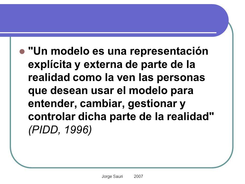 Un modelo es una representación explícita y externa de parte de la realidad como la ven las personas que desean usar el modelo para entender, cambiar, gestionar y controlar dicha parte de la realidad (PIDD, 1996)
